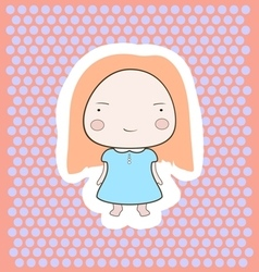 Cute Happy Smiling Peach Hair Cartoon Baby Girl vector