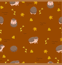 Cute hedgehogs on a brown background seamless vector