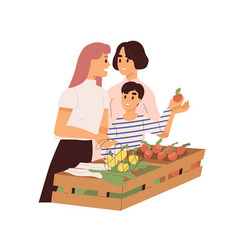 Cute homosexual couple with child buying fruits vector
