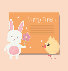 cute rabbit and chick easter characters vector image