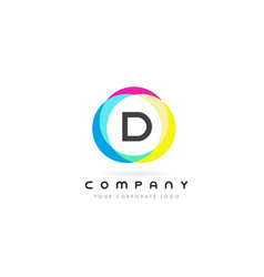 d letter logo design with rainbow rounded colors vector image