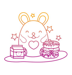 degraded line cute mouse with donuts and milk box vector image