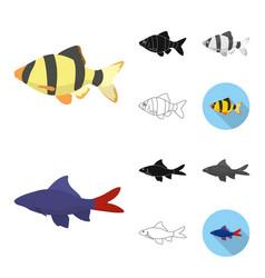 Different types of fish cartoonblackflat vector