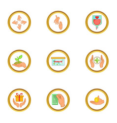 Donate icons set cartoon style vector