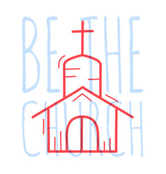 doodle church building religion christian poster vector image