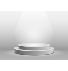 Empty template of white round podium vector image