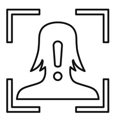 Face recognition alert icon outline style vector