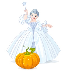 Fairy Godmother Making Magic Pumpkin Carriage vector image