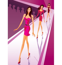 Fashion models at a fashion review vector image