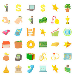 filthy lucre icons set cartoon style vector image