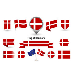 flag denmark big set icons and symbols vector image