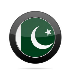 flag of pakistan shiny black round button vector image