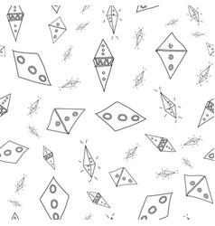 Flying kites doodle pattern filled diamond shape vector