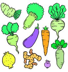 Fresh vegetable set of doodles vector