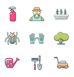Front garden icons set flat style vector