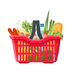 full shopping basket market food and products vector image