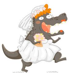 Funny bridezilla vector