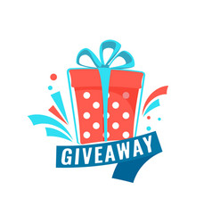 Giveaway social media contest concept banner with vector