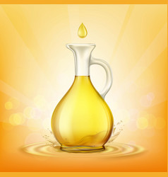 glass jug with yellow oil and a spray of droplets vector image