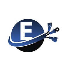 Global electricity letter e vector