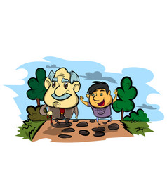 Grandfather and child vector