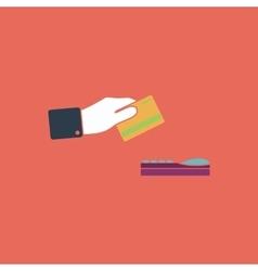 Hand swiping a credit card symbol vector
