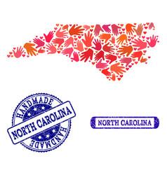 Handmade composition of map of north carolina vector