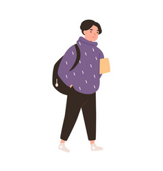 Happy boy go to school and carrying book or tablet vector