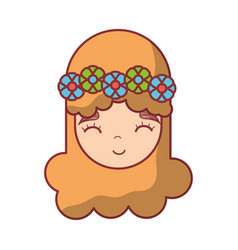 Happy face woman with flower in the head vector
