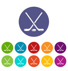 hockey stick icons set color vector image