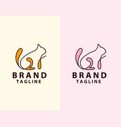 Image an cat line art design vector