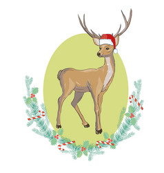 image of an deer and santa hats on blue vector image