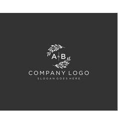 Initial ab letters floral frames monogram wedding vector
