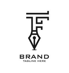 initial pen logo f vector image