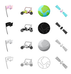 Isolated object of mars and space sign set of vector