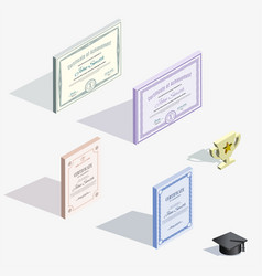 isometric icons different certificates and vector image