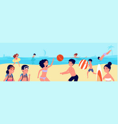 kids beach vacations children swimming playing vector image