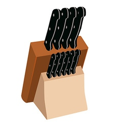 Kitchen knives in holder vector image