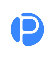 letter logo modern abstract blue icon of letter p vector image