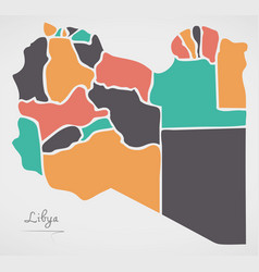 Libya map with states and modern round shapes vector