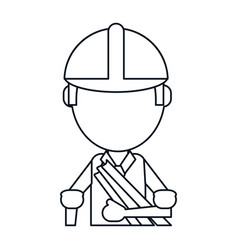 man building construction plans helmet thin line vector image