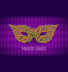 mardi gras carnival mask on purple background vector image