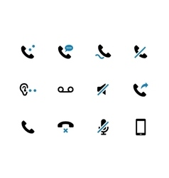 Mobile phone handset duotone icons on white vector image