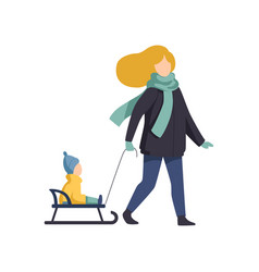 mom carrying her child on a sled winter time vector image