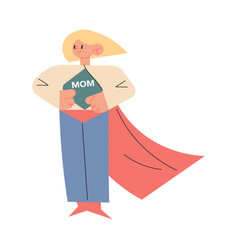 Mother in superhero costume standing and showing vector