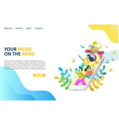music app website landing page design vector image