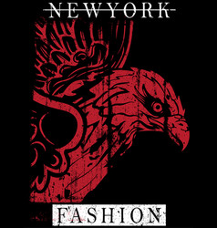 new york typography design with eagle vector image