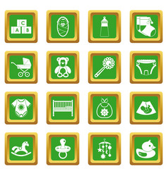 Newborn icons set green vector