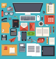 Office desk stationery flat object vector