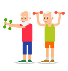 Older men perform exercises to weight lifting vector